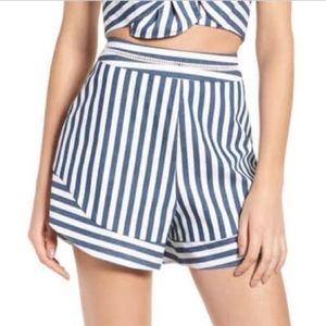 WAYF Retro Striped Shorts Blue & White Medium